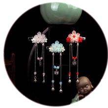 1pcs  Chinese Traditional Hair Accessories Handmade Flower Crystal Hairpin Alloy Long Tassel Hair Clip Classical Hair Jewelry книжка мозаика синтез читаю по слогам гуси лебеди