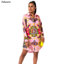 Fall 2019 Dresses Women Long Sleeve Print Pink Mini Dress Plus Size Loose Casual Shirt Vintage Floral