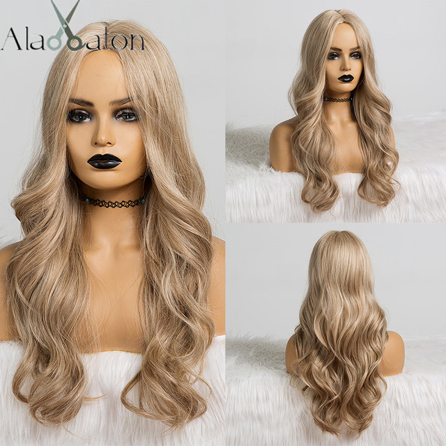 ALAN EATON Synthetic Wigs for Black Women Long Wavy Hair 22Inch Cosplay Light Ash Brown Blonde Wig Middle Part Heat Resistant