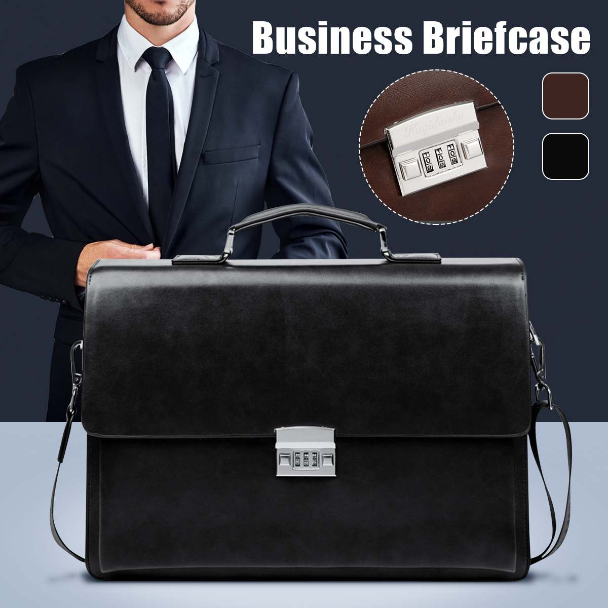 Men's Leather Briefcase Bag Fashion British Style Business Bags For Men Laptop Bag Shoulder Bags Male Luxury Handbag With Lock