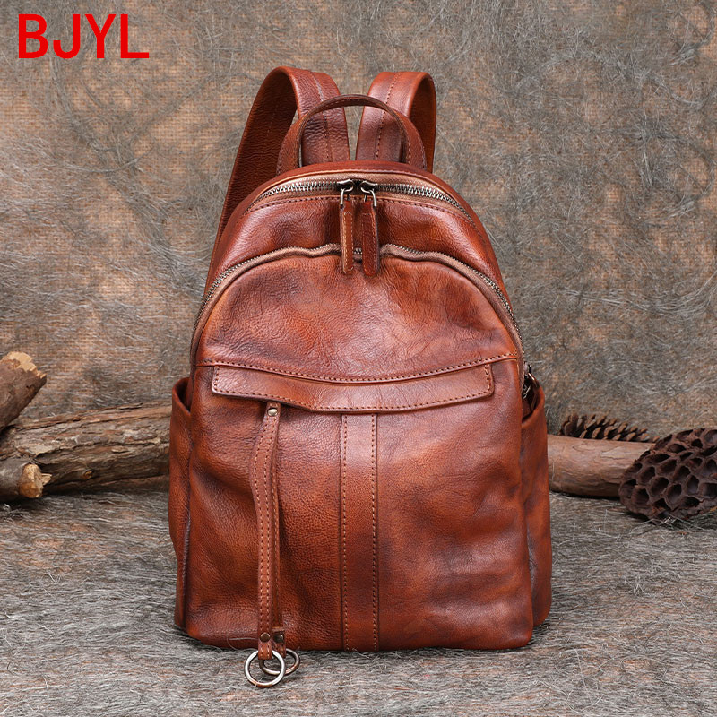 2020 new leather literary retro women backpack soft leather large capacity wild leather female travel backpacks schoolbag ladies