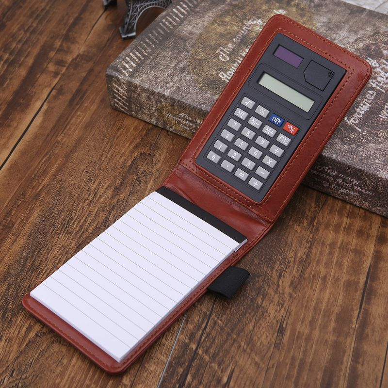 Creative Multifunction Small Notebook A7 Pocket Notebook Planner Notepad Leather Cover Note Book With Calculator