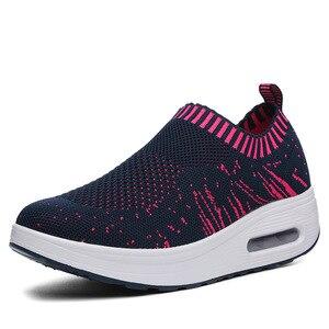 Image 2 - COWCOM קיץ נעלי נשים לטוס משטח אריגת לנשימה ספורט מזדמן Waddling נעלי כרית עוגת נעל אחת CYL 3902