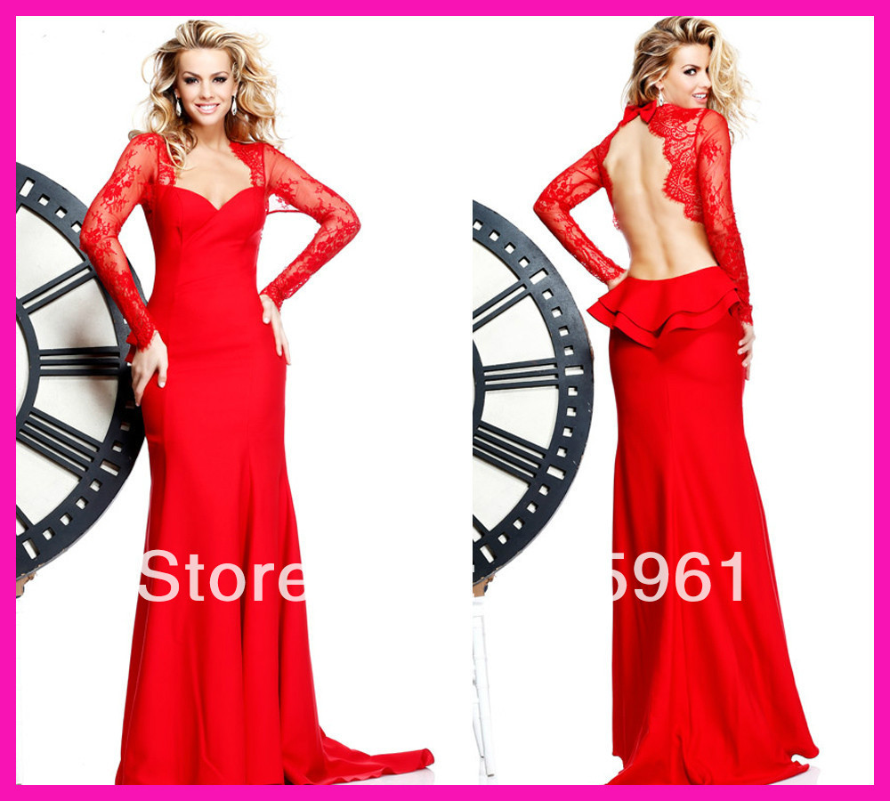 2019 New Arrival Robe De Soiree Red Long Sleeve Lace Sexy Backless Mermaid Pageant Prom Dresses Robe De Soiree Evening Dress