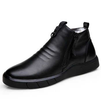 Światło miękkie komfort zimowe buty wełniane dla mężczyzn buty płaskie antypoślizgowe casualowe buty sportowe śnieg buty męskie buty buty fala Geuine skóra buty tanie i dobre opinie ZXRYXGS Buty śniegu Prawdziwej skóry Skóra bydlęca Kostki Pasuje prawda na wymiar weź swój normalny rozmiar Okrągły nosek