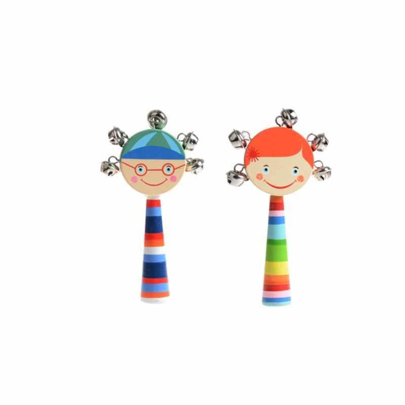 Müzikal ahşap Bells Montessori Handbells bebek davul çocuk müzik enstrümanı karikatür Primt eğitici oyuncaklar bebek oyuncakları çocuklar için