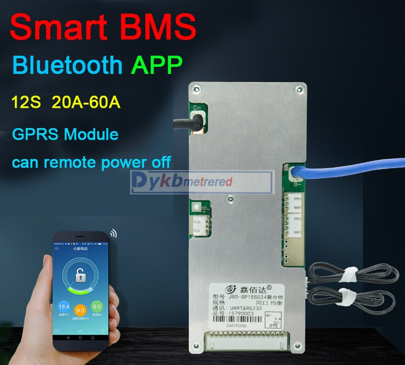 DYKB Smart BMS 12S  60A-20A Lifepo4 Lithium Battery Protection Board Balance Remote GPRS Bluetooth APP UART Software 3.2V