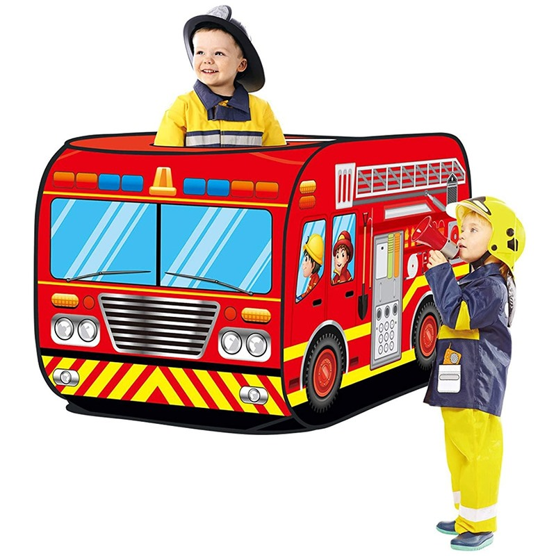 Fire Truck/Police Car Design Children's Play Tent Kids Gamehouse Toy Hut Easy Fold Playhouse Firefighter Policemen Pretend Play