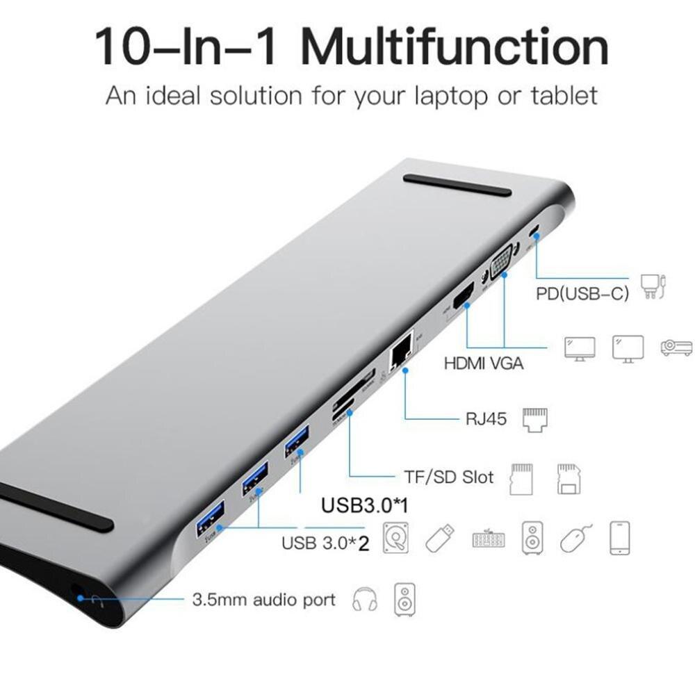 10 en 1 Multi USB C HUB vers HDMI VGA USB adaptateur Audio pour MacBook Type C HUB Station d'accueil pour ordinateur portable