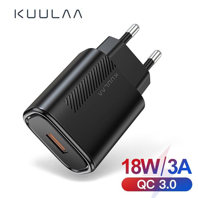 KUULAA Quick Charge 3,0 QC 18W USB Ladegerät Für Xiaomi Redmi Hinweis 9 8 7 QC 3,0 Schnelle Lade USB Wand Telefon Ladegerät Für Samsung