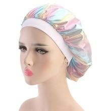 Women Laser High Elasticity Wide Side Sleeping Cap Perm Hat Chemotherapy Cap Bath
