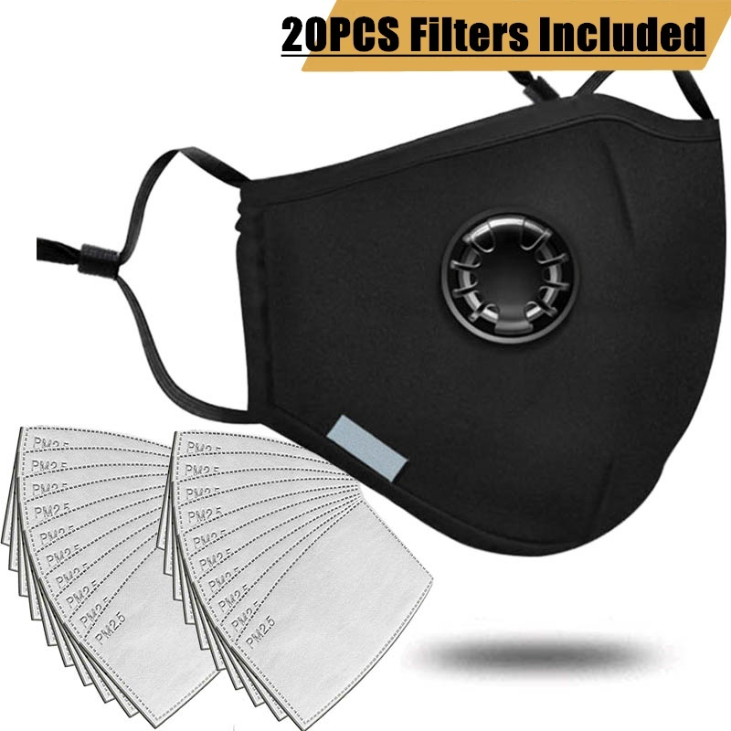 20 PCS Filter Fashion Mask Anti Pollution PM2.5 Mouth Respirator Washable Reusable Dust Masks Cotton Unisex Mouth Muffle Black