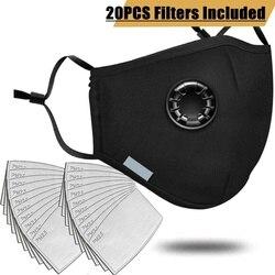20 adet filtre moda maskesi Anti kirliliği PM2.5 ağız solunum yıkanabilir kullanımlık toz maskeleri pamuk Unisex ağız Muffle siyah