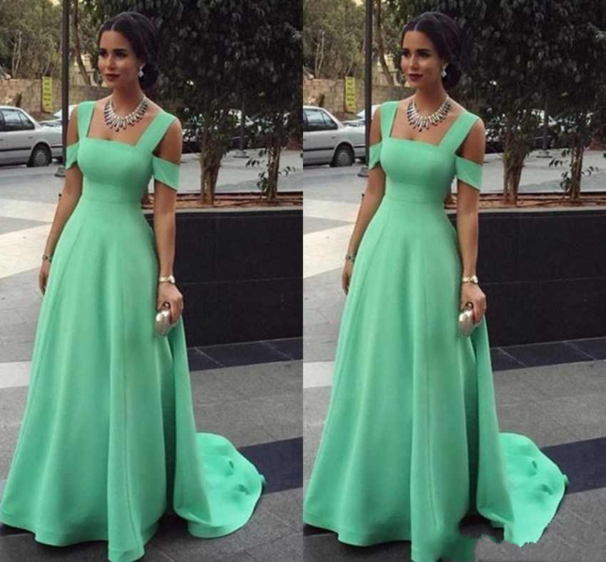 A-Line Mint Green Evening Dresses Spaghetti Simple Red Carpet Gowns Back Zipper Sweep Train Custom Made Formal Occasion Dresses