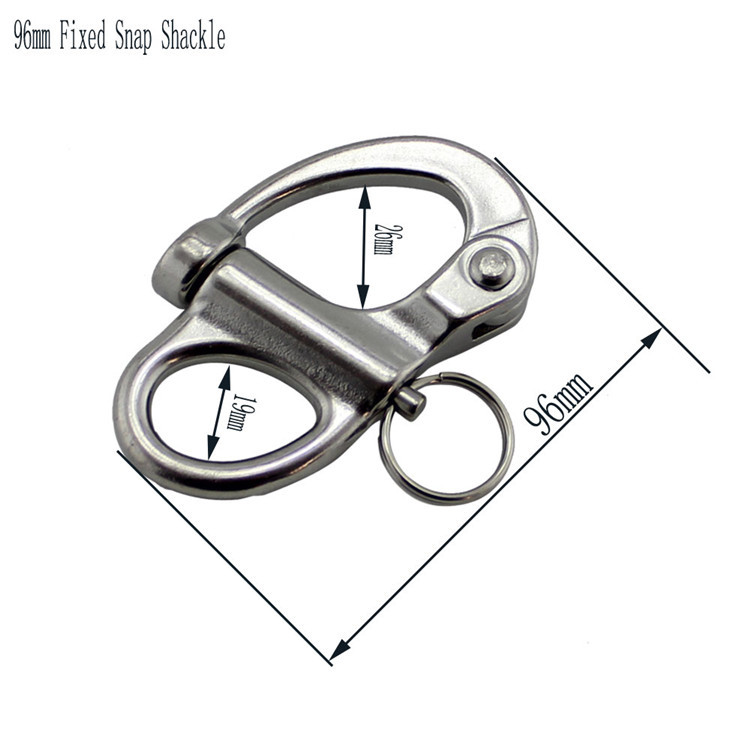 96mm Stainless Steel Fixed Snap Anchor Shackle Rigging Silver Fixed Eye Bail with Eye Ring for Sailboat