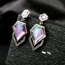 European American Fashion Earrings Fresh Luxurious Irregular Pattern Crystal Studs Jewelry Women Accessories