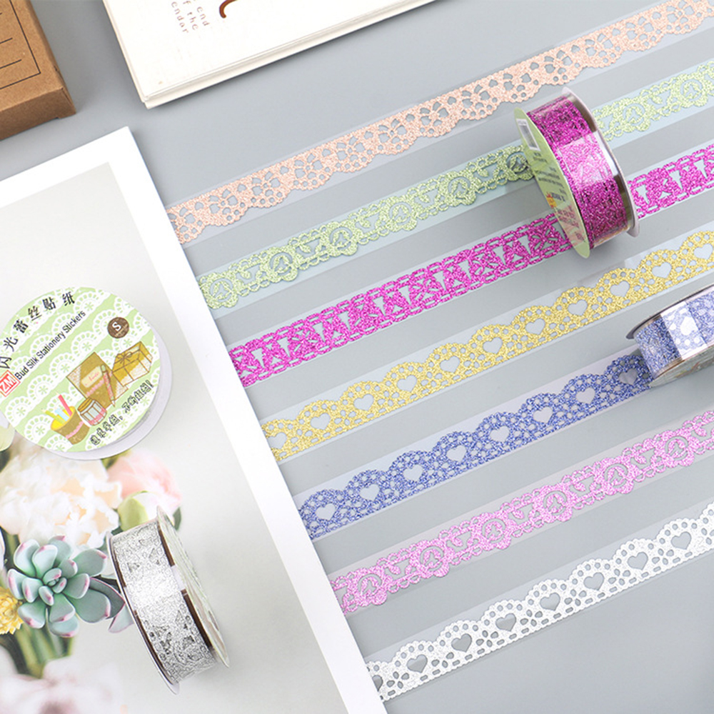1 Roll  Glitter DIY Self-adhesive Masking Tape Lace Ribbons Washi Tapes Student Scrapbooking Decoration Supplies