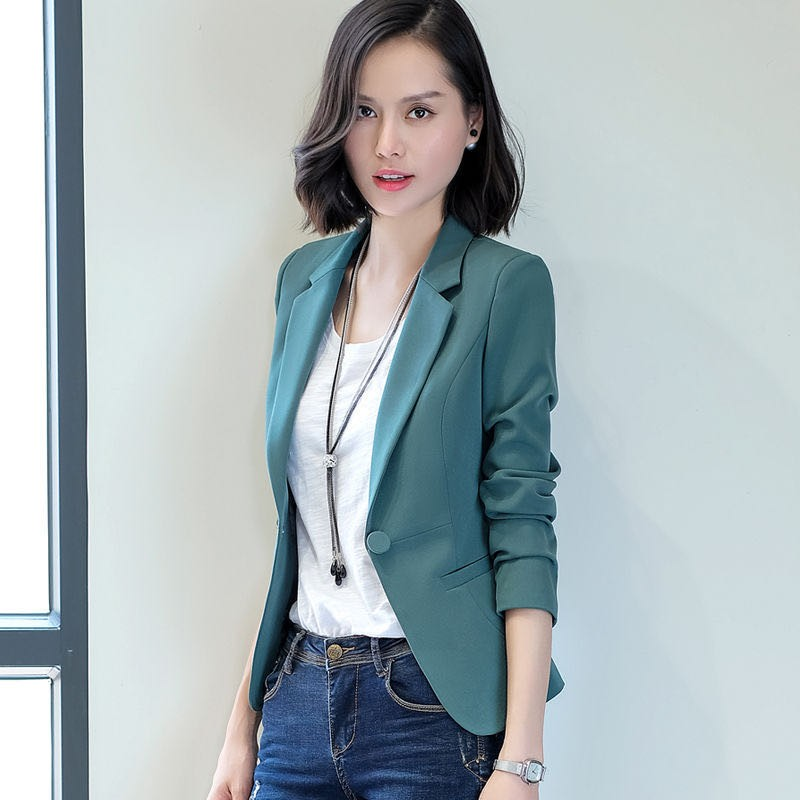 Fashion New Spring Autumn Blazers And Jackets Women Long Sleeve One Button Female Blazer Solid Coat Outerwear
