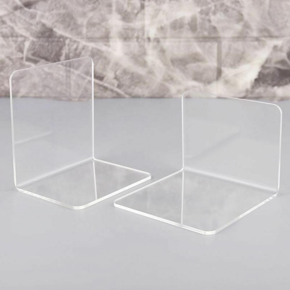 2Pcs Transparent Acrylic Bookends L-shaped Desk Organizer Desktop Clear Book Holder School Stationery Office Accessories