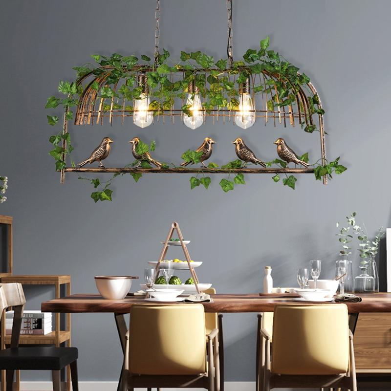 Retro Industrial Style Birds Bedroom Chandelier Living Room Kitchen Light Fixtures Plant Iron Indoor Lighting For Restaurant Bar