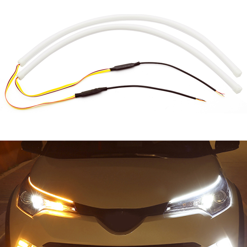 For VW Polo <font><b>Passat</b></font> b5 <font><b>b6</b></font> b7 b8 Golf 4 5 6 7 T4 T5 Touran Accessories 2 Pcs <font><b>LED</b></font> Car Flowing <font><b>DRL</b></font> <font><b>Turn</b></font> <font><b>Signal</b></font> Daytime Running Light image