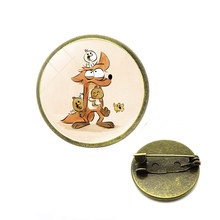 Panas Vintage Fox Bros Pin Perhiasan Kaca Makhluk Hutan Cat Air Bros Hewan Seni Gambar Pin Perhiasan Natal(China)