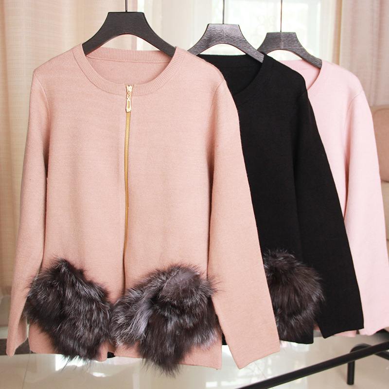 Big Fox Fur Pockets Patchwork Zipper Cardigan Coat Solid Knitted Female Open Stitch  Autumn Fashion Casual Loose Women Sweater