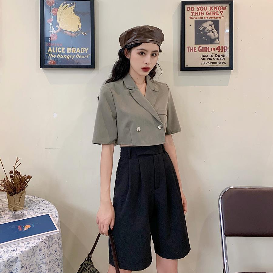 Women Thin Shorts Suit Blazer Jacket & Knee Length Shorts 2 Pieces   Female Sets Causal Women Suits Fashion 2020 Spring New