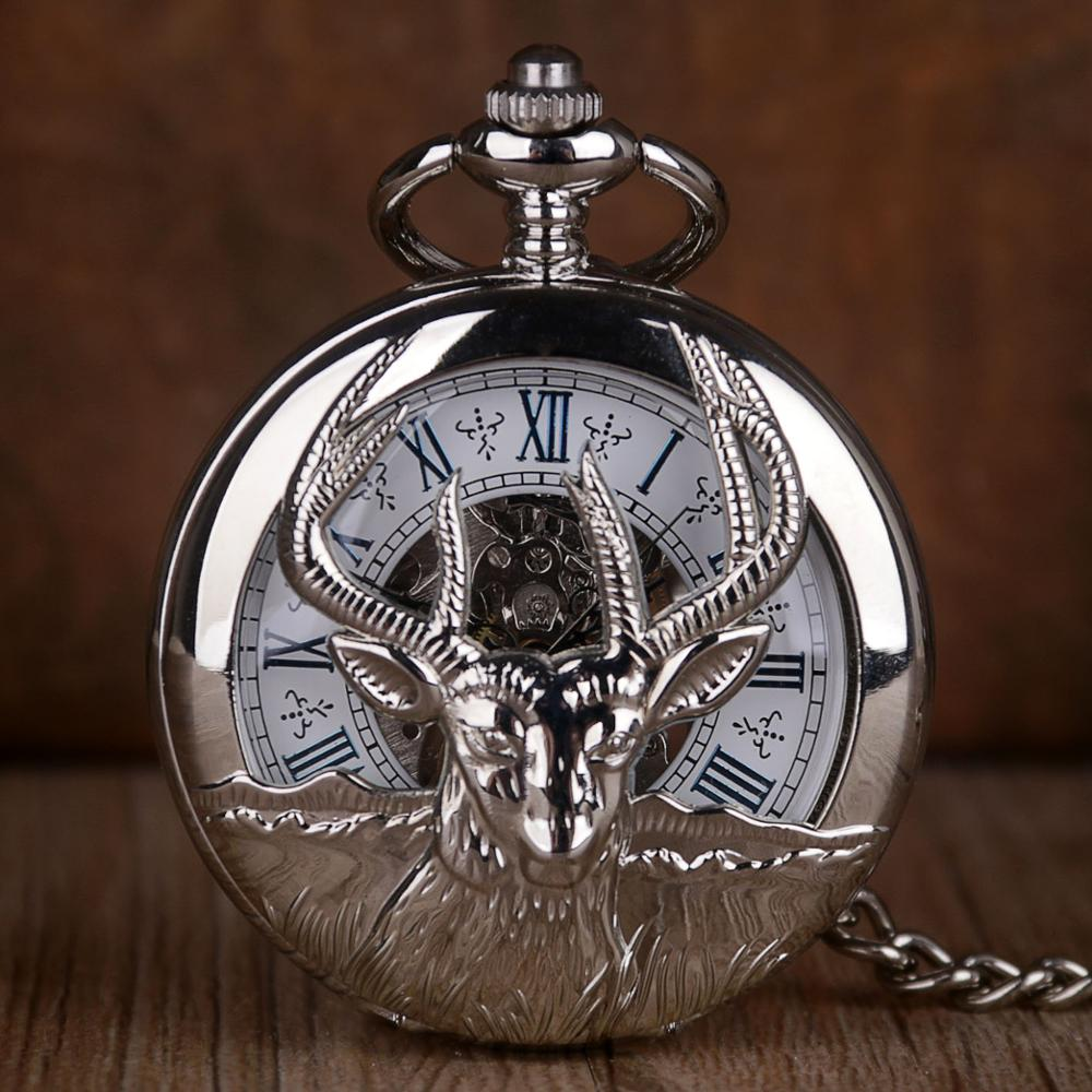 Antique Sliver Hollow Pocket Watch Deer Skeleton Mechanical Pocket Watch Roman Number Hand-winding Fob Chain Gift For Men Women
