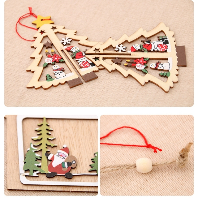 1PC 2D 3D Christmas Ornament Wooden Hanging Pendants Star Xmas Tree Bell Christmas Decorations For Home Party New Year Navidad 2