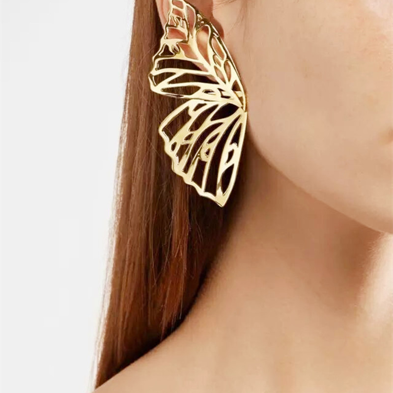 Hot Sale Hollow Big Butterfly Stud Earring For Women Metal Angel Wing Pendant Earrings Statement Jewelry Party Christmas Gift