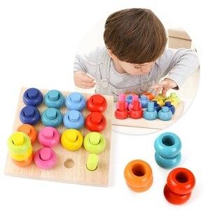 Деревянный цвет Сортировка укладки кольца доска Обучающие счетные игрушки головоломки игры для детей дошкольного возраста