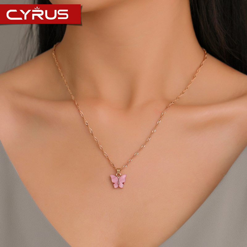 Sweet Acrylic Color Butterfly Necklace For Women Long Wild Clavicle Chain Pendant Refined Stylish Mujer Gift 2020 Trendy Gold(China)