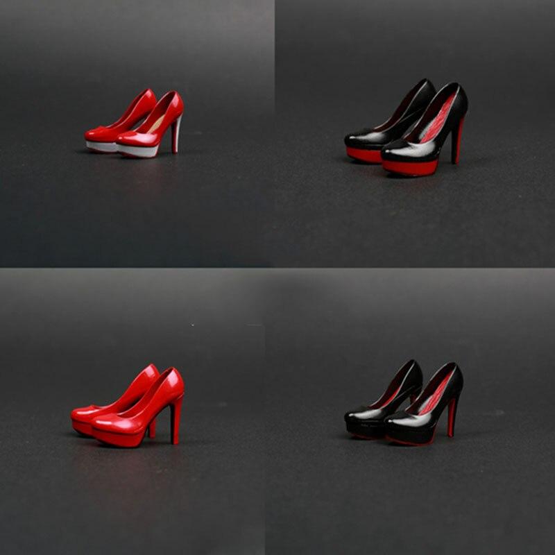 "4Pairs 12/"" Female Figure Shoes 1//6 Scale Black High Heels Platform Shoes"