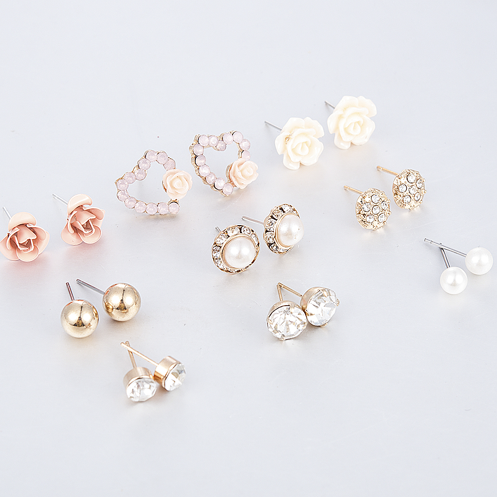 2019 New Fashion Women 9pair/set Flower Pearl Alloy Ear Earring Cute Crystal Wedding Jewelry Gifts For Girl korean fashion 4