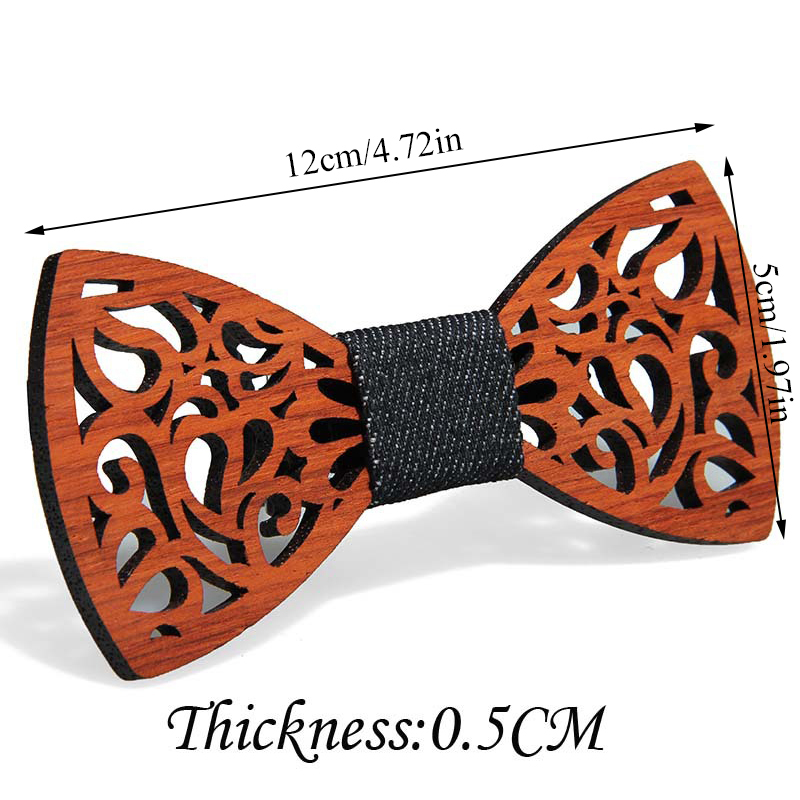 Vintage Men Wooden Bow Tie Hollow Out Carved Retro Wooden Neck Solid Color Bow Tie High Quality Ties For Men Butterfly Tie Hot