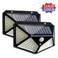 114 led 모션 센서와 야외 태양 전원 정원 빛 태양 벽 램프 방수 4면 led 태양 빛 마당 정원
