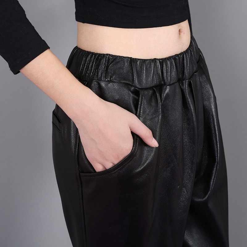 Pantalones Harem de cintura elástica hasta el tobillo de marca superior para mujer BF viento pantalones de cuero genuino para mujer Pantalones sueltos de ajuste Casual para mujer