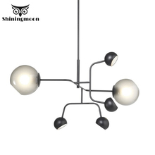 Modern Iron LED  Pipe Erected Chandelier Nordic Indoor Living Room chandelier lighting Restaurant Bedroom hanging lamp Luminaria