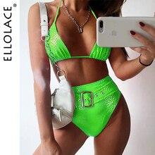 Ellolace Pu Sexy Animal Bikini Swimsuit Deep-V Female High W