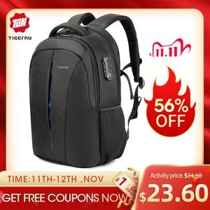 Image 1 - Tigernu odporny na zachlapanie 15.6 cal plecak na laptopa NO Key TSA z zabezpieczeniem przeciw kradzieży mężczyźni plecak podróży plecak dla nastolatków torba mężczyzna plecak mochila