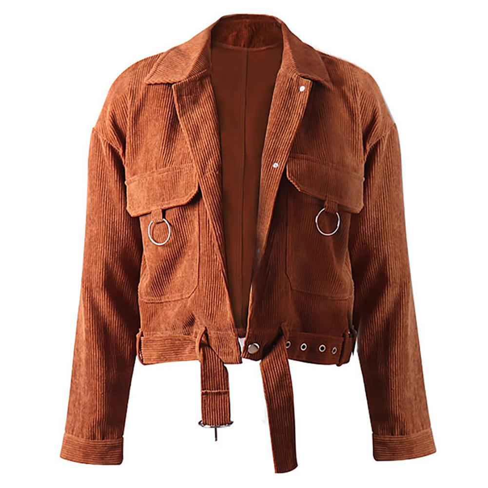 2019 New Yfashion Women Long Sleeve Corduroy Jacket