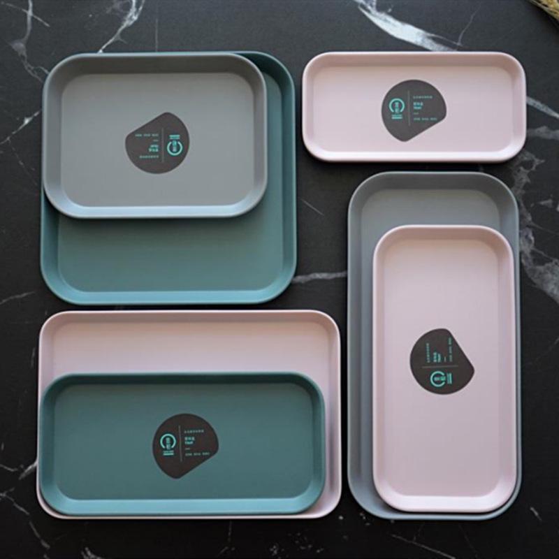 Ev ve Bahçe'ten Saklama Tepsileri'de İskandinav plastik geometrik depolama tepsileri çay kahvaltı ekmek tepsisi kek meyve tabağı tepsi dekoratif takı ekran ev düzenleyici title=