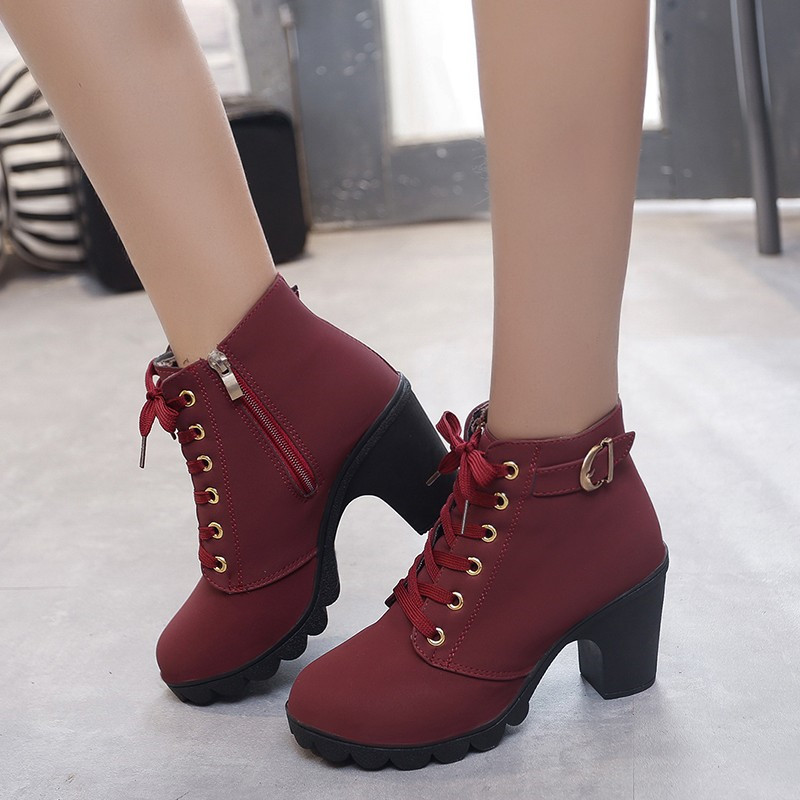 2019 Boots Women Shoes Winter Shallow Fashion High Heel laceup Ankle Boots Ladies Buckle Platform Artificial Leather Botas Mujer