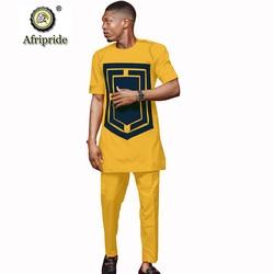 2019 Africano Camicia di Vestito per Gli Uomini Dashiki Manica Corta Magliette e camicette e Pantaloni Ankara Stampa del Vestito Dei Vestiti Tuta AFRIPRIDE S1916024