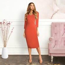 Элегантное женское облегающее платье оранжевого цвета с v образным