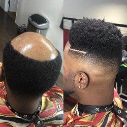 Super Durável Base de Pele 6MM Afro Onda Peruca de Cabelo Dos Homens para a América Africano Preto Mens 100% Humano Peruca de Cabelo Encaracolado Perucas