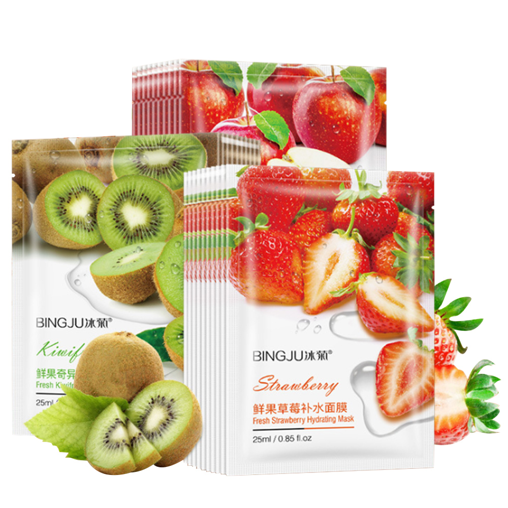 Fruit Face Masks Avocado & Apple & Olive & Red Pomegranate Extract Whitening Oil Control Facial Mask Skin Care Tool
