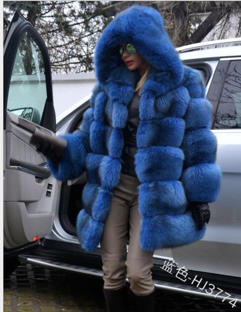 Hiver fausse fourrure manteau nouvelle mode pardessus femme moyen Style col montant fourrure de renard en vrac Imitation fourrure vestes grande taille S-4XL - 5