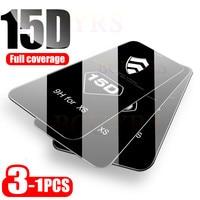 3-1PCS 15D vetro curvo con copertura completa per iPhone 7 8 6 6S Plus pellicola salvaschermo per iPhone X XR XS 11 12 Pro Max